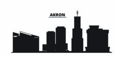 United States, Akron City city skyline isolated vector illustration. United States, Akron City travel cityscape with landmarks Illustration