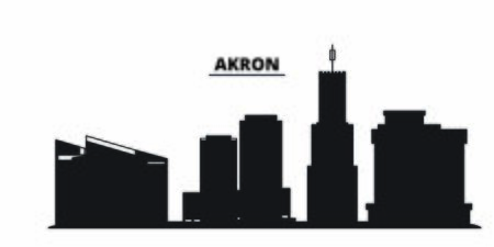 United States, Akron City city skyline isolated vector illustration. United States, Akron City travel cityscape with landmarks 向量圖像