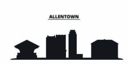 United States, Allentown city skyline isolated vector illustration. United States, Allentown travel cityscape with landmarks Ilustração