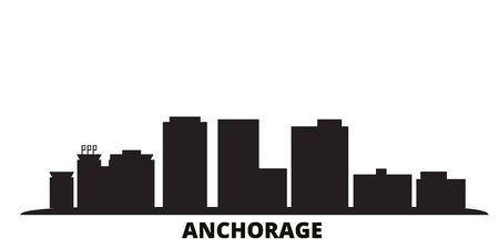 United States, Anchorage city skyline isolated vector illustration. United States, Anchorage travel cityscape with landmarks