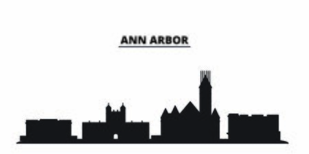 United States, Ann Arbor city skyline isolated vector illustration. United States, Ann Arbor travel cityscape with landmarks