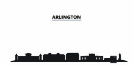 United States, Arlington City city skyline isolated vector illustration. United States, Arlington City travel cityscape with landmarks