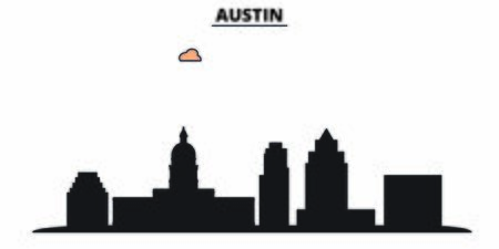 United States, Austin City city skyline isolated vector illustration. United States, Austin City travel cityscape with landmarks Illustration