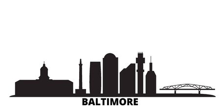United States, Baltimore city skyline isolated vector illustration. United States, Baltimore travel cityscape with landmarks