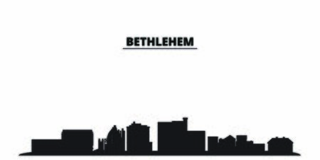 United States, Bethlehem city skyline isolated vector illustration. United States, Bethlehem travel cityscape with landmarks