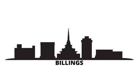 United States, Billings city skyline isolated vector illustration. United States, Billings travel cityscape with landmarks