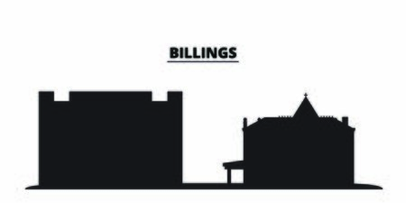 United States, Billings City city skyline isolated vector illustration. United States, Billings City travel cityscape with landmarks