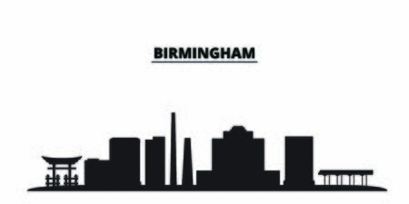 United States, Birmingham City city skyline isolated vector illustration. United States, Birmingham City travel cityscape with landmarks