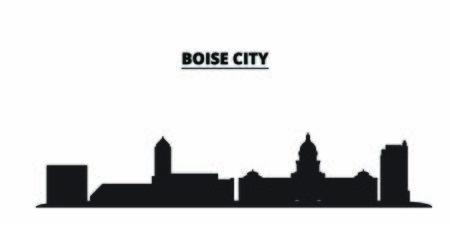 United States, Boise City city skyline isolated vector illustration. United States, Boise City travel cityscape with landmarks Ilustração