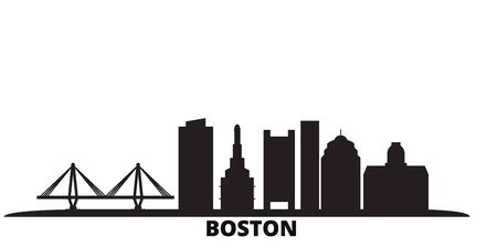 United States, Boston City city skyline isolated vector illustration. United States, Boston City travel cityscape with landmarks