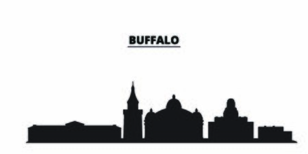 United States, Buffalo city skyline isolated vector illustration. United States, Buffalo travel cityscape with landmarks Ilustração
