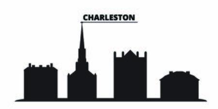 United States, Charleston city skyline isolated vector illustration. United States, Charleston travel cityscape with landmarks