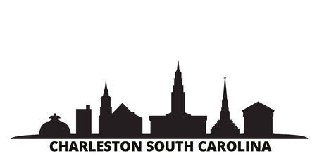 United States, Charleston South Carolina city skyline isolated vector illustration. United States, Charleston South Carolina travel cityscape with landmarks 向量圖像