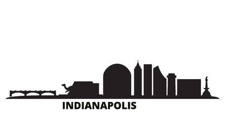 United States, Indianapolis city skyline isolated vector illustration. United States, Indianapolis travel cityscape with landmarks Illustration
