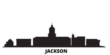 United States, Jackson city skyline isolated vector illustration. United States, Jackson travel cityscape with landmarks Illustration