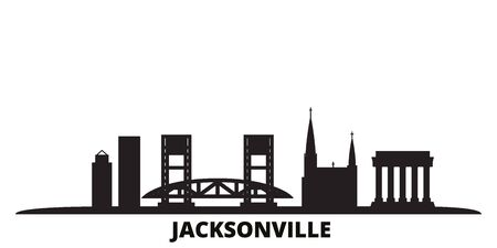 United States, Jacksonville city skyline isolated vector illustration. United States, Jacksonville travel cityscape with landmarks