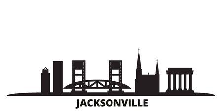 United States, Jacksonville city skyline isolated vector illustration. United States, Jacksonville travel cityscape with landmarks