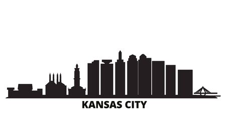 United States, Kansas City city skyline isolated vector illustration. United States, Kansas City travel cityscape with landmarks 向量圖像