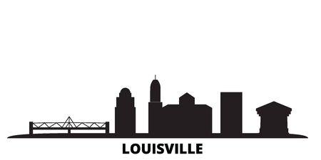 United States, Louisville city skyline isolated vector illustration. United States, Louisville travel cityscape with landmarks