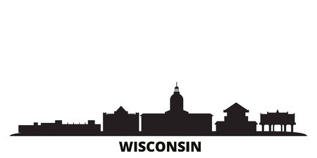 United States, Madison city skyline isolated vector illustration. United States, Madison travel cityscape with landmarks