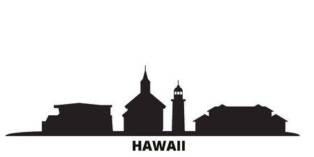 United States, Maui city skyline isolated vector illustration. United States, Maui travel cityscape with landmarks