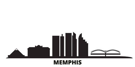United States, Memphis city skyline isolated vector illustration. United States, Memphis travel cityscape with landmarks