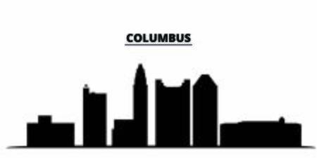 United States, Columbus City city skyline isolated vector illustration. United States, Columbus City travel cityscape with landmarks