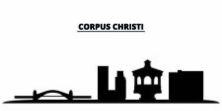 United States, Corpus Christi city skyline isolated vector illustration. United States, Corpus Christi travel cityscape with landmarks