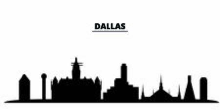 United States, Dallas City city skyline isolated vector illustration. United States, Dallas City travel cityscape with landmarks Illustration