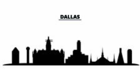 United States, Dallas City city skyline isolated vector illustration. United States, Dallas City travel cityscape with landmarks Ilustração