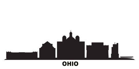 United States, Dayton city skyline isolated vector illustration. United States, Dayton travel cityscape with landmarks