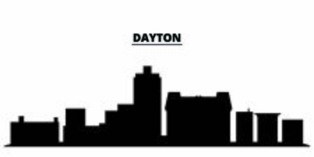 United States, Dayton City city skyline isolated vector illustration. United States, Dayton City travel cityscape with landmarks