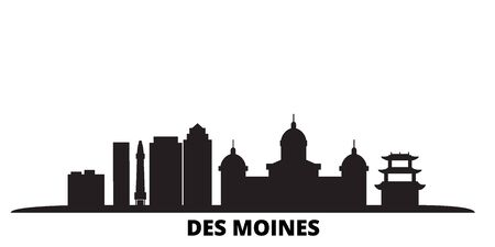 United States, Des Moines city skyline isolated vector illustration. United States, Des Moines travel cityscape with landmarks