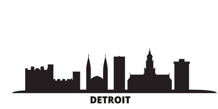 United States, Detroit city skyline isolated vector illustration. United States, Detroit travel cityscape with landmarks