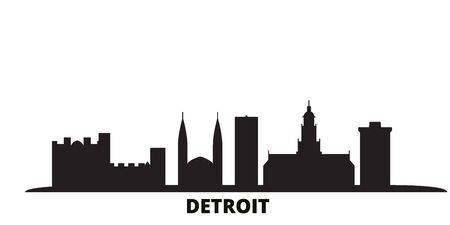 United States, Detroit city skyline isolated vector illustration. United States, Detroit travel cityscape with landmarks