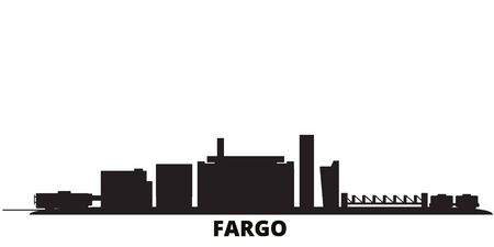 United States, Fargo city skyline isolated vector illustration. United States, Fargo travel cityscape with landmarks