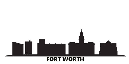 United States, Fort Worth city skyline isolated vector illustration. United States, Fort Worth travel cityscape with landmarks