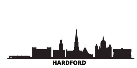 United States, Hartford city skyline isolated vector illustration. United States, Hartford travel cityscape with landmarks
