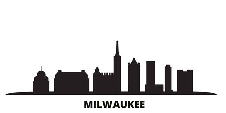 United States, Milwaukee City city skyline isolated vector illustration. United States, Milwaukee City travel cityscape with landmarks  イラスト・ベクター素材