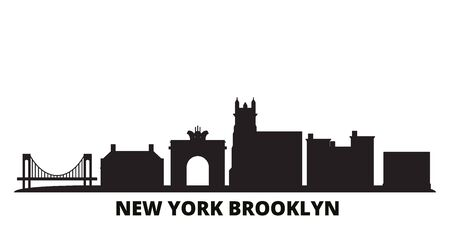 United States, New York Brooklyn city skyline isolated vector illustration. United States, New York Brooklyn travel cityscape with landmarks