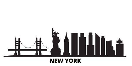 United States, New York City city skyline isolated vector illustration. United States, New York City travel cityscape with landmarks