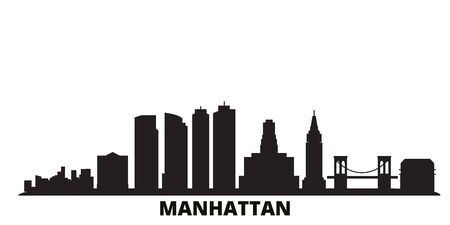 United States, New York Manhattan city skyline isolated vector illustration. United States, New York Manhattan travel cityscape with landmarks