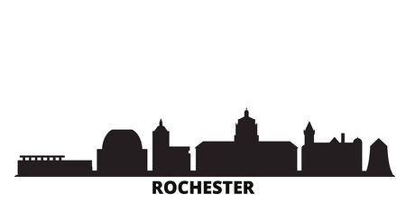 United States, New York Rochester city skyline isolated vector illustration. United States, New York Rochester travel cityscape with landmarks