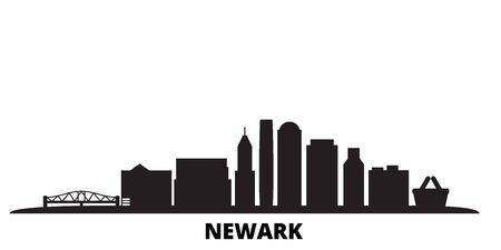 United States, Newark city skyline isolated vector illustration. United States, Newark travel cityscape with landmarks Stock Vector - 134610638