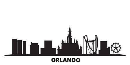 United States, Orlando city skyline isolated vector illustration. United States, Orlando travel cityscape with landmarks