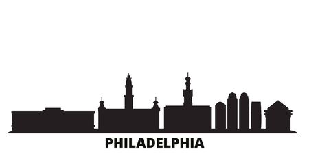 United States, Philadelphia city skyline isolated vector illustration. United States, Philadelphia travel cityscape with landmarks