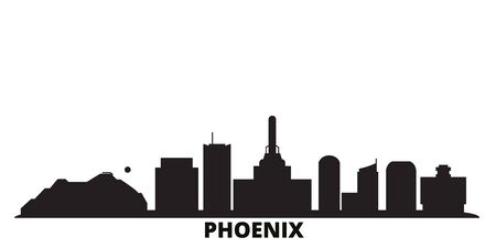United States, Phoenix city skyline isolated vector illustration. United States, Phoenix travel cityscape with landmarks