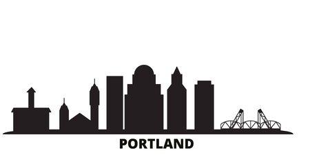 United States, Portland city skyline isolated vector illustration. United States, Portland travel cityscape with landmarks