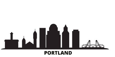 United States, Portland city skyline isolated vector illustration. United States, Portland travel cityscape with landmarks Stock Vector - 134610646