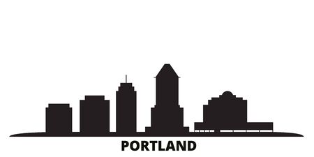 United States, Portland City city skyline isolated vector illustration. United States, Portland City travel cityscape with landmarks
